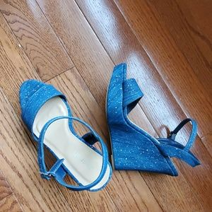 SALE! JASMIN DENIM WEDGE SANDALS BRAND NEW